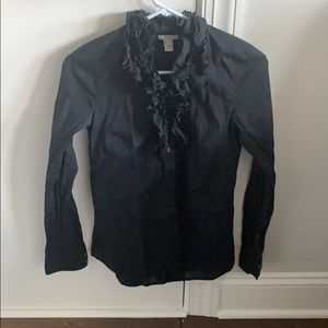 J.Crew black button down ruffled size 0